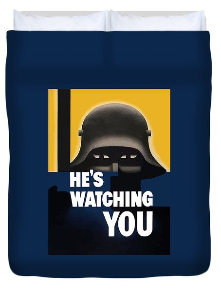 He's Watching You Duvet Cover by War Is Hell Store
