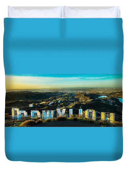High On Hollywood Duvet Cover by Az Jackson