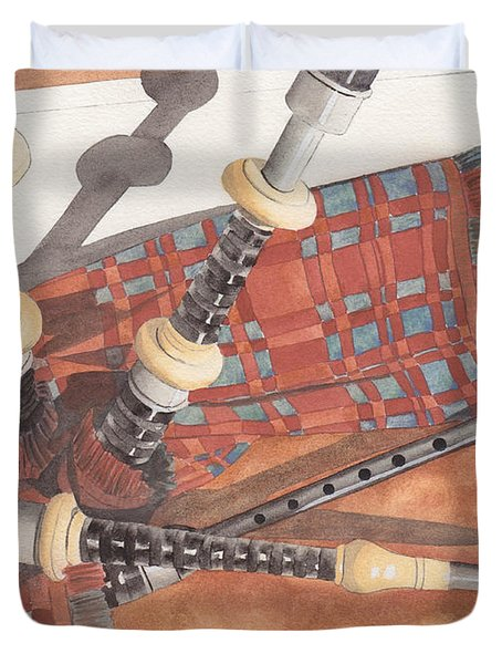 Highland Pipes II Duvet Cover by Ken Powers