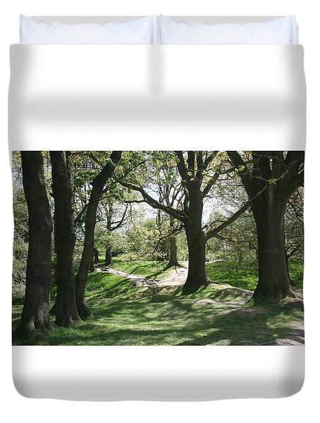 Duvet Cover featuring the photograph Hill 60 Cratered Landscape by Travel Pics