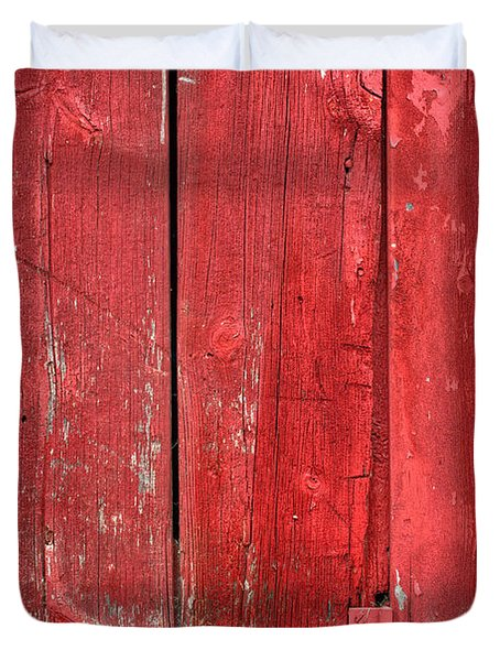 Hinge On A Red Barn Duvet Cover by Steve Gadomski