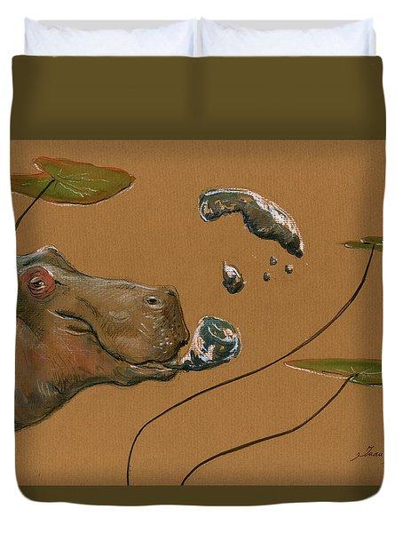 Hippo Bubbles Duvet Cover by Juan  Bosco