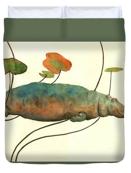 Hippo Swimming With Water Lilies Duvet Cover by Juan  Bosco