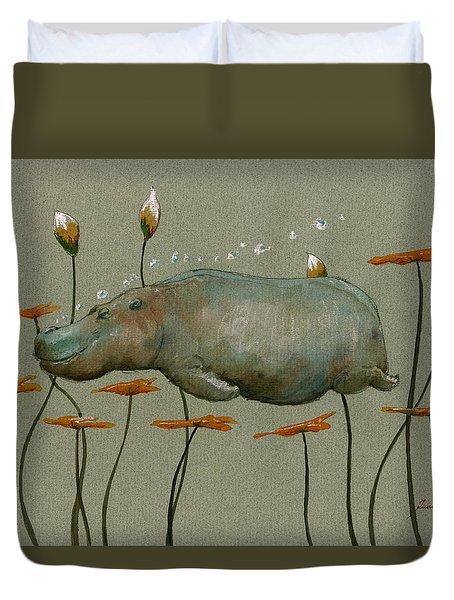 Hippo Underwater Duvet Cover by Juan  Bosco