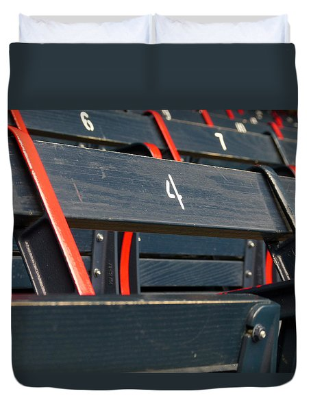 Historical Wood Seating At Boston Fenway Park Duvet Cover by Juergen Roth