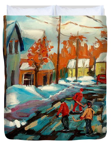 Hockey Game In Ville St Laurent Montreal Streetscenes Duvet Cover by Carole Spandau