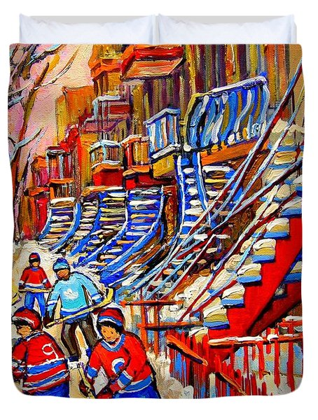 Hockey Game Near The Red Staircase Duvet Cover by Carole Spandau