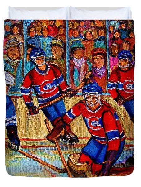 Hockey  Hero Duvet Cover by Carole Spandau