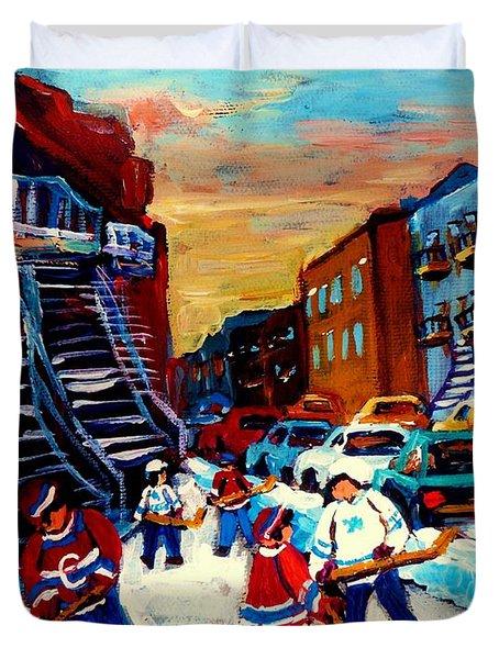 Hockey Paintings Of Montreal St Urbain Street City Scenes Duvet Cover by Carole Spandau