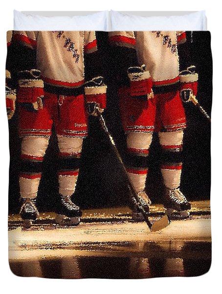 Hockey Reflection Duvet Cover by Karol Livote