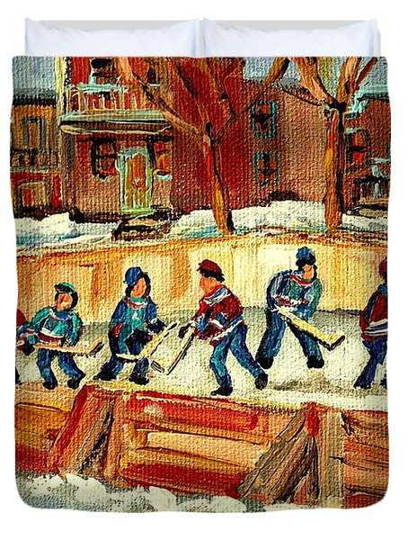 Hockey Rinks In Montreal Duvet Cover by Carole Spandau