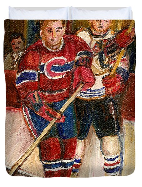 Hockey Stars At The Forum Duvet Cover by Carole Spandau