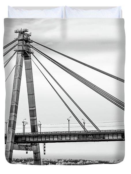 Hockey Under The Bridge Duvet Cover by Ant Rozetsky