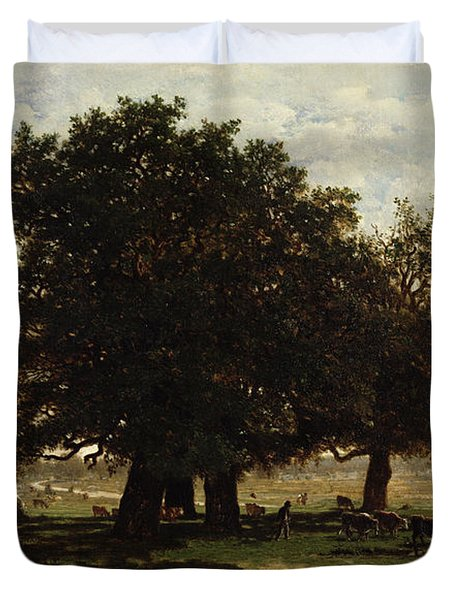 Holm Oaks Duvet Cover by Pierre Etienne Theodore Rousseau