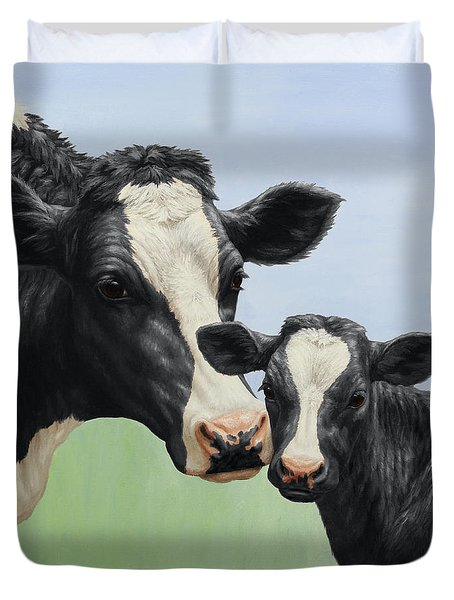 Holstein Cow And Calf Duvet Cover by Crista Forest