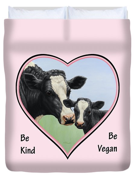 Holstein Cow And Calf Pink Heart Vegan Duvet Cover by Crista Forest