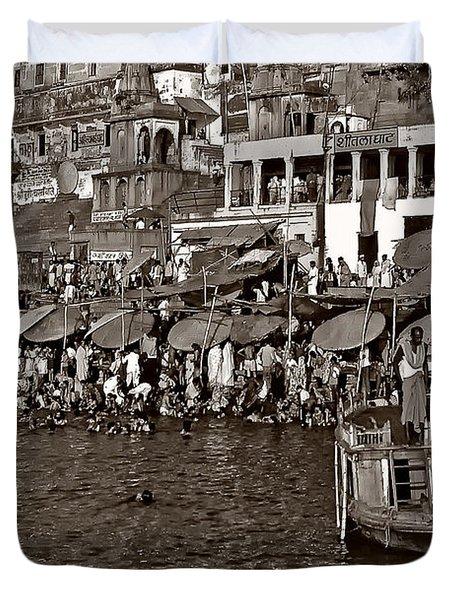 Holy Ganges Monochrome Duvet Cover by Steve Harrington