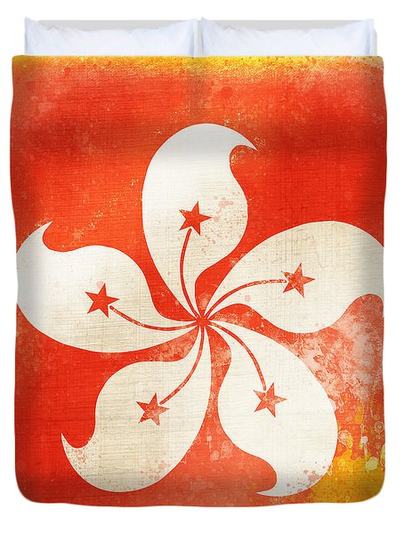 Hong Kong China Flag Duvet Cover by Setsiri Silapasuwanchai
