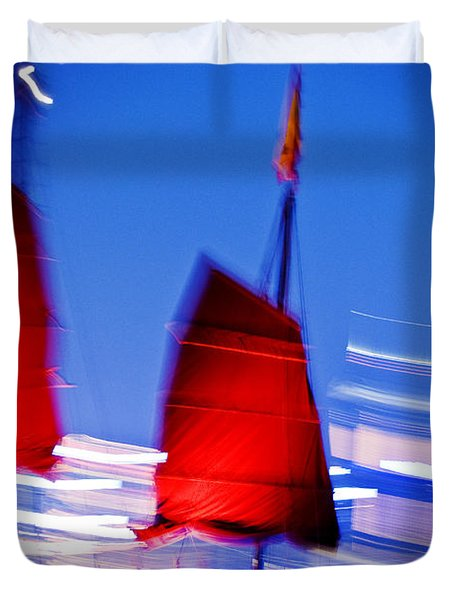 Hong Kong Lights Duvet Cover by Ray Laskowitz - Printscapes