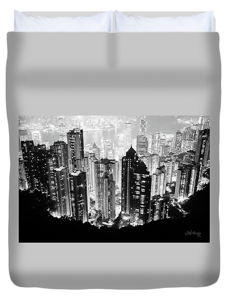 Hong Kong Nightscape Duvet Cover by Joseph Westrupp