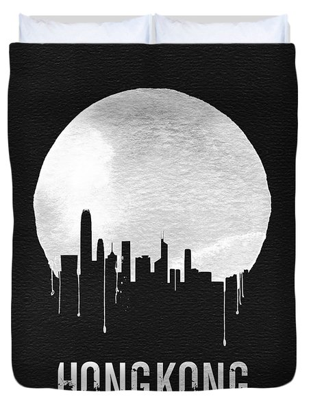 Hong Kong Skyline Black Duvet Cover by Naxart Studio