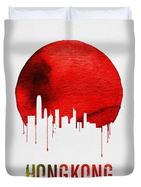 Hong Kong Skyline Red Duvet Cover by Naxart Studio