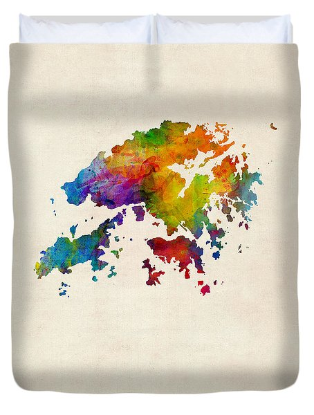 Hong Kong Watercolor Map Duvet Cover by Michael Tompsett