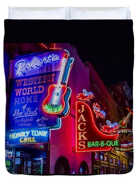 Honky Tonk Broadway Duvet Cover by Stephen Stookey