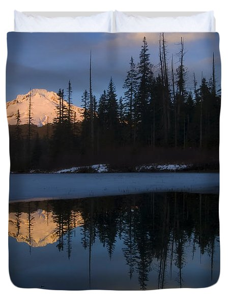 Hood Alpenglow Duvet Cover by Mike  Dawson