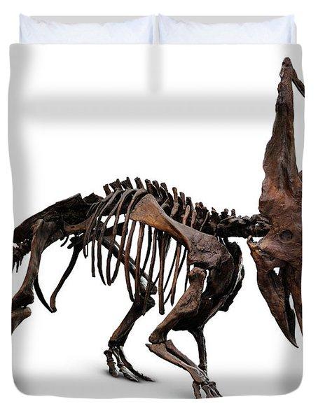Horned Dinosaur Skeleton Duvet Cover by Oleksiy Maksymenko
