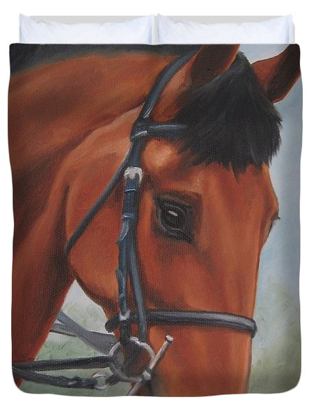 Horse Portrait Duvet Cover by Jindra Noewi