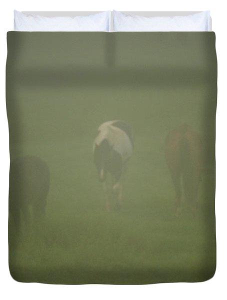 Horses Grazing In The Mist Duvet Cover by Steve Gadomski