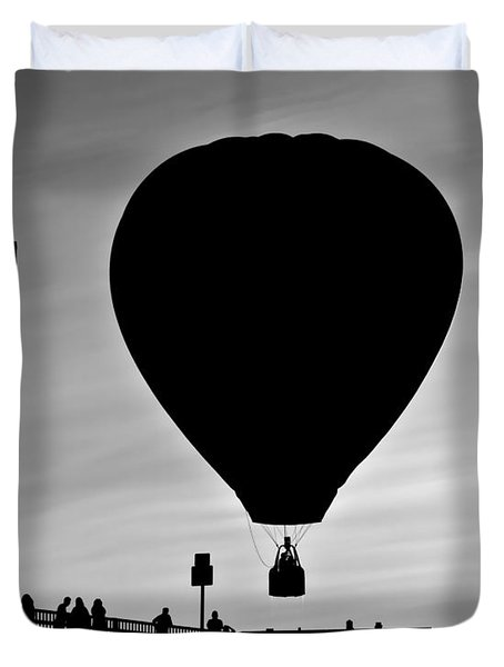 Hot Air Balloon Bridge Crossing Duvet Cover by Bob Orsillo