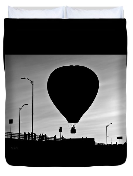 Hot Air Balloon Bridge Crossing Duvet Cover by Bob Orsillo