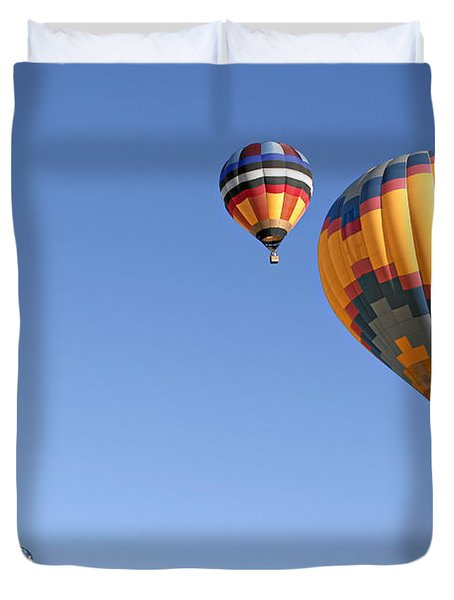 Hot Air Balloon Ride A Special Adventure Duvet Cover by Christine Till