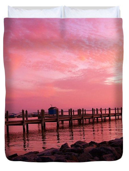 Hot Bay Sunset Duvet Cover by Trish Tritz