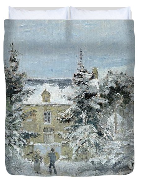House At Montfoucault Duvet Cover by Camille Pissarro