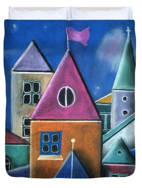 Houses Duvet Cover by Caroline Peacock