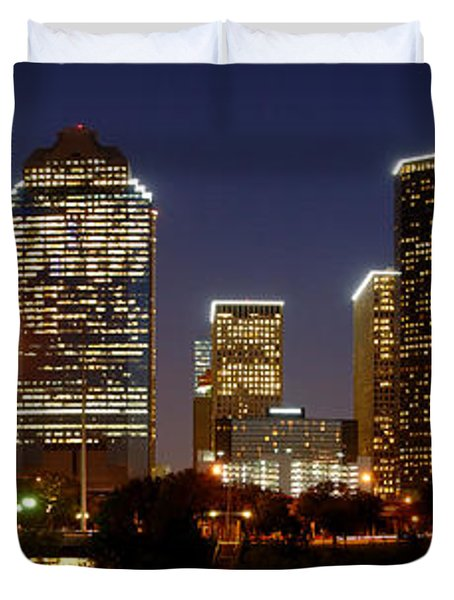 Houston Skyline At Night Duvet Cover by Jon Holiday
