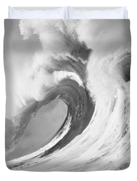 Huge Curling Wave - Bw Duvet Cover by Ali ONeal - Printscapes