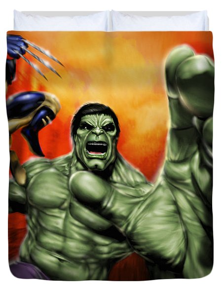 Hulk Duvet Cover by Pete Tapang