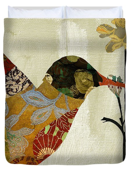 Hummingbird Brocade IIi Duvet Cover by Mindy Sommers