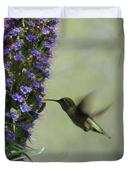 Hummingbird Sharing Duvet Cover by Ernie Echols