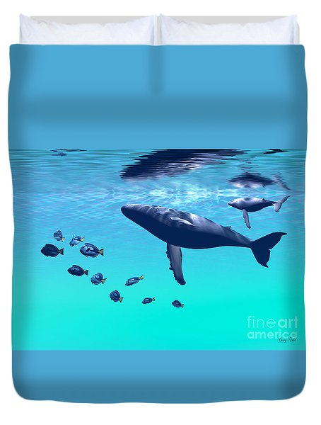 Humpback Whales Duvet Cover by Corey Ford