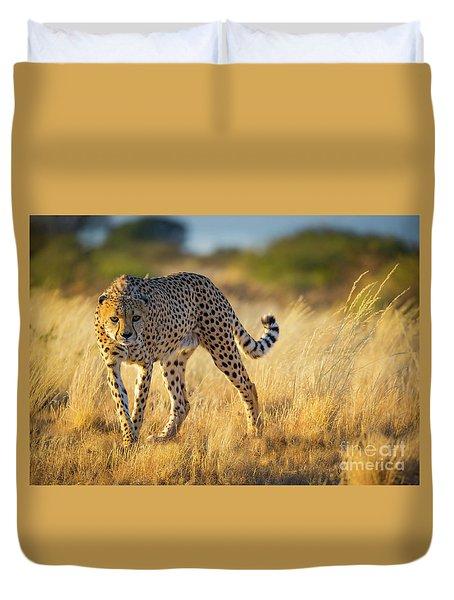 Hunting Cheetah Duvet Cover by Inge Johnsson