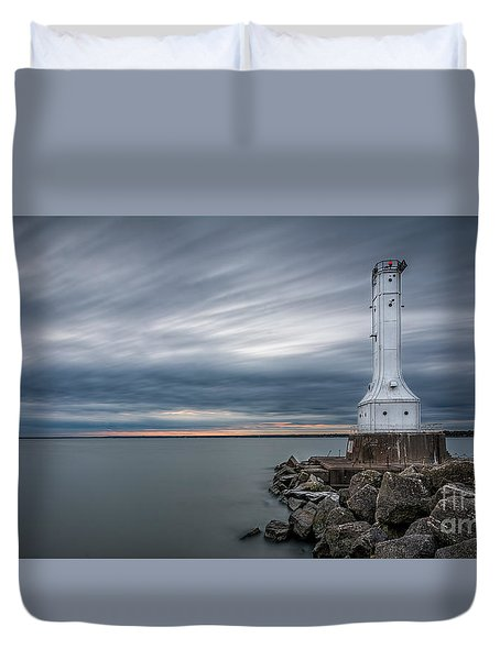 Huron Harbor Lighthouse Duvet Cover by James Dean