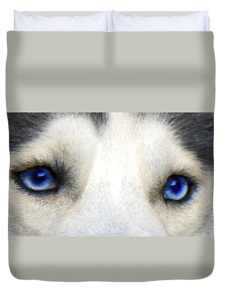 husky eyes Duvet Cover by Jane Schnetlage