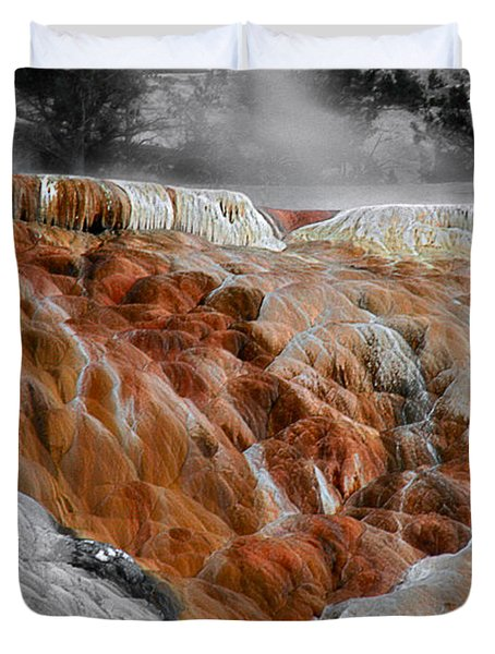 Hymen Terrace Mammoth Hot Springs Yellowstone Park Wy Duvet Cover by Christine Till