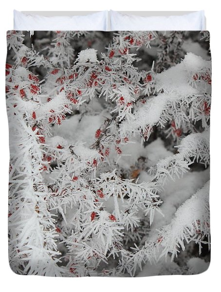 I Love Winter Duvet Cover by Carol Groenen