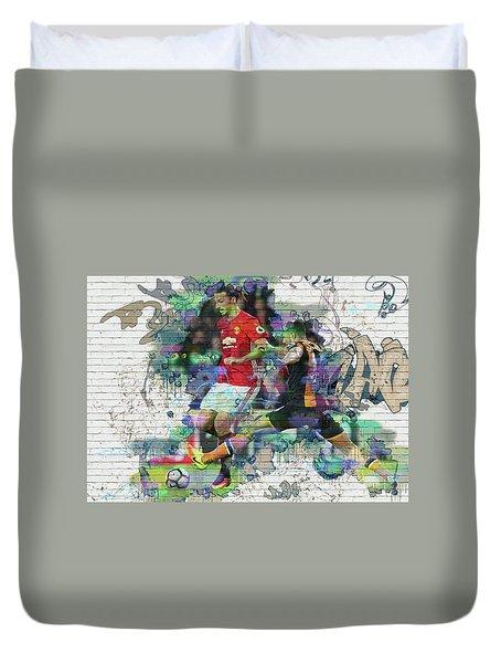 Ibrahimovic Street Art Duvet Cover by Don Kuing